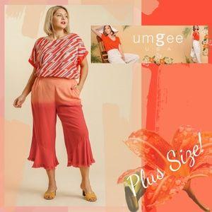 Luxury boutique brand linen blend pants w/elastici